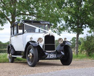 Overview picture of Alice, our second newly restored white vintage Citroen.